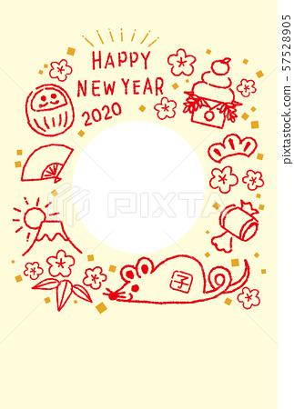 포토 프레임 연하장 2020 년자를 년 행운 다양하게 쥐 빨간색과 노란색 문자 없음 57528905