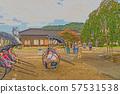 Izushi城堡城堡鎮例證結束 57531538