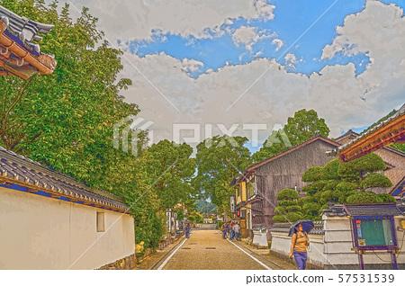 이즈시 성 마을 일러스트 마무리 57531539