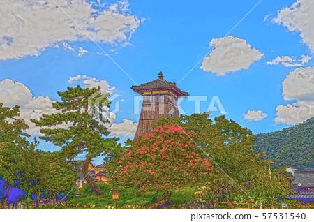 이즈시 성 마을 일러스트 마무리 57531540