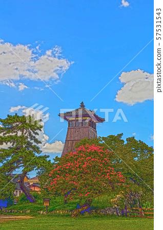 이즈시 성 마을 일러스트 마무리 57531543