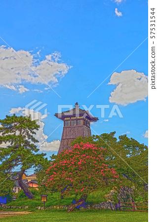 이즈시 성 마을 일러스트 마무리 57531544