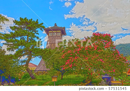 이즈시 성 마을 일러스트 마무리 57531545
