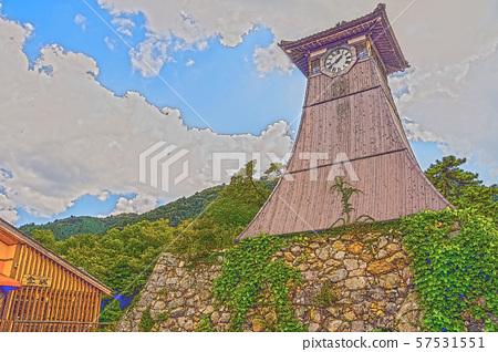 이즈시 성 마을 일러스트 마무리 57531551