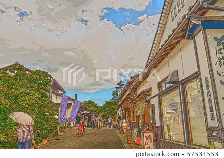 이즈시 성 마을 일러스트 마무리 57531553