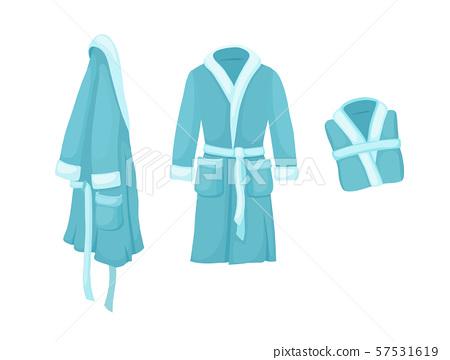 Bathrobe vector isolated on white background. Cartoon style blue bath robe set. 57531619