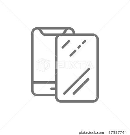 Vector protective glass on smartphone line icon. 57537744