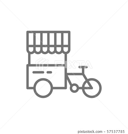Tricycle with street fridge, hot dog bicycle line icon. 57537785