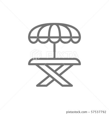 Street picnic table with umbrella line icon. 57537792