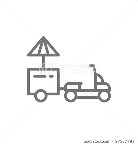 Vector refrigerator scooter food truck line icon. 57537793