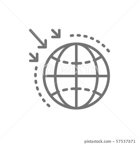Destruction of the ozone layer line icon. 57537871