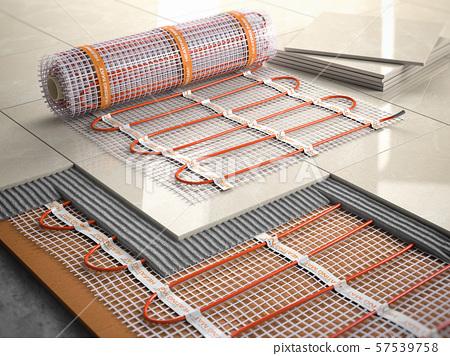 Underfloor heating installation concept. Mat 57539758