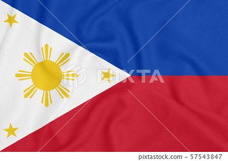 Flag of Philippines on textured fabric. Patriotic 57543847
