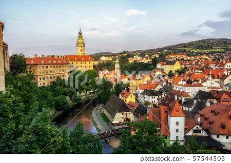 cesky krumlov town sunset 57544503