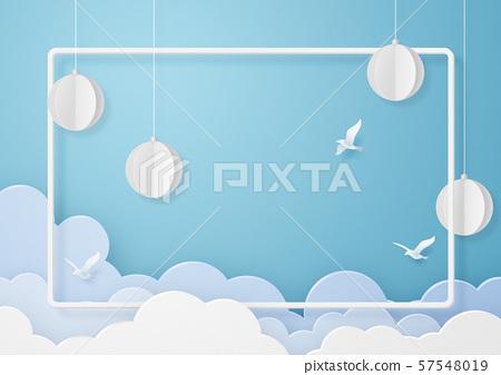 종이 공예 - 하늘 - 구름 - 조류 - 프레임 57548019