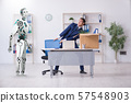 Concept of robots replacing humans in offices 57548903