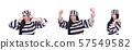 Prisoner in striped uniform on white 57549582