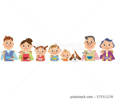 在三代家庭中吃米格莫格莫 57551176