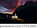 Amazing sunset view on Neuschwanstein. Bavaria, Germany. 57552885