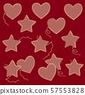 귀여운 하트와 별의 스티치 일러스트, 57553828
