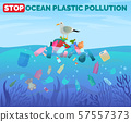 Stop ocean plastic pollution poster with pile of garbage in water 57557373