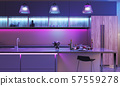 Modern kitchen with colored led lights 57559278
