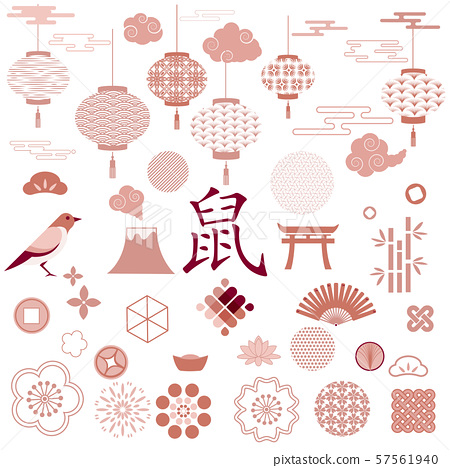 Set of japanese and chinese icons. Tree, Bamboo, Flowers, Wave, Fan, Cloud, Mount Fuji, Cherry Blossom. Chinese lanterns with patterns in modern style, geometric decorative ornaments 57561940
