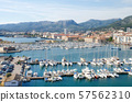 Aerial view of Yachts and boats in the Toulon port in Cote de Azur provence in sothern France. 57562310
