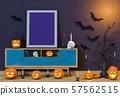 Halloween poster mock up in living room and pumpkins, jack-o-lantern. 3D render 57562515
