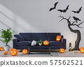 3D render Halloween party in living room  with pumpkins, jack-o-lantern 57562521