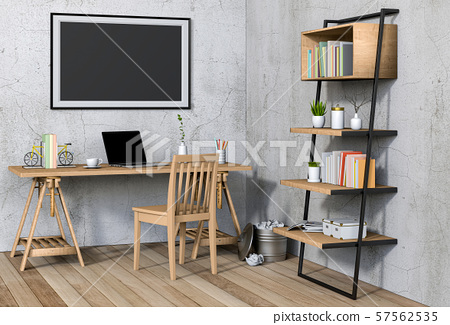 3D render interior living room workspace with laptop computer and mockup blank poster 57562535
