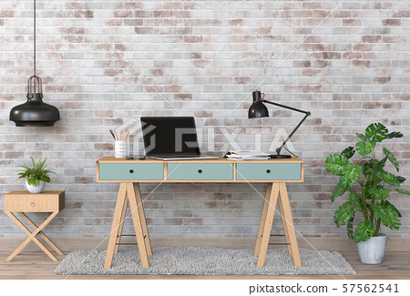 3D render of interior modern living room workspace with laptop computer 57562541