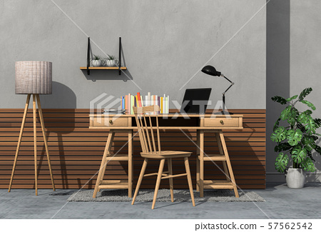 3D render of interior modern living room workspace with laptop computer 57562542