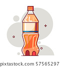 Plastic bottle of soda water. Colorful vector illustration. 57565297