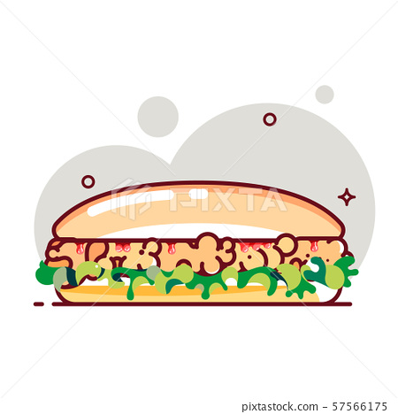 Big sandwich with tomato paste, chicken cutlet and salad. Colorful vector illustration. 57566175