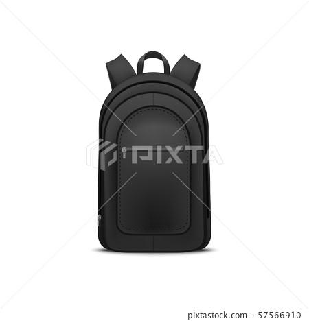 Realistic Detailed 3d Black Blank School Backpack Template Mockup. Vector 57566910
