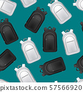 Realistic Detailed 3d White and Black Blank School Backpacks Seamless Pattern Background. Vector 57566920