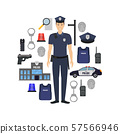 Cartoon Color Policeman and Police Elements Banner Card Circle. Vector 57566946