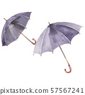 Black walking umbrella with a croock wooden handle. Watercolor background set. Isolated umbrella 57567241
