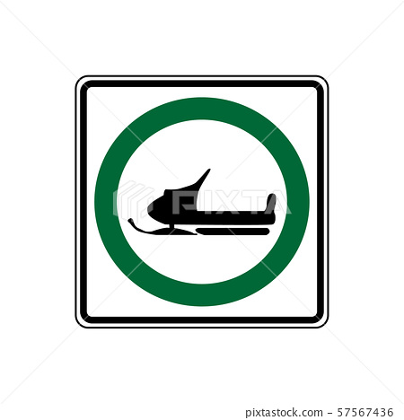 USA traffic road signs. snowmobiles may use this 57567436
