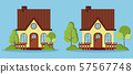 Set of isolated beautiful rural farm fabulous houses with attic, chimney, fences. 57567748