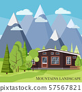 Spring or summer mountain landscape nature scene with rural wooden farm house, fences, green trees 57567821