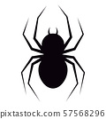 Vector illustration of flat design black spider with fangs silhouette icon isolated on white 57568296