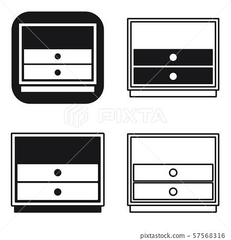 Black and white nightstand bedside icons set design illustration of bedside table vector signs for 57568316