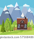 Spring or summer mountain landscape background scene with farm house 57568486