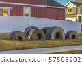 Tires recycled into small playground for children 57568902
