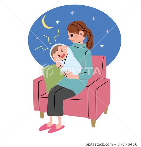 抱著不能睡覺的嬰孩的婦女的例證 57570450