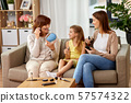mother, daughter and grandmother doing make up 57574322