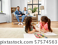 happy family spending free time at home 57574563