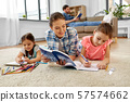 mother spending time with little daughters at home 57574662